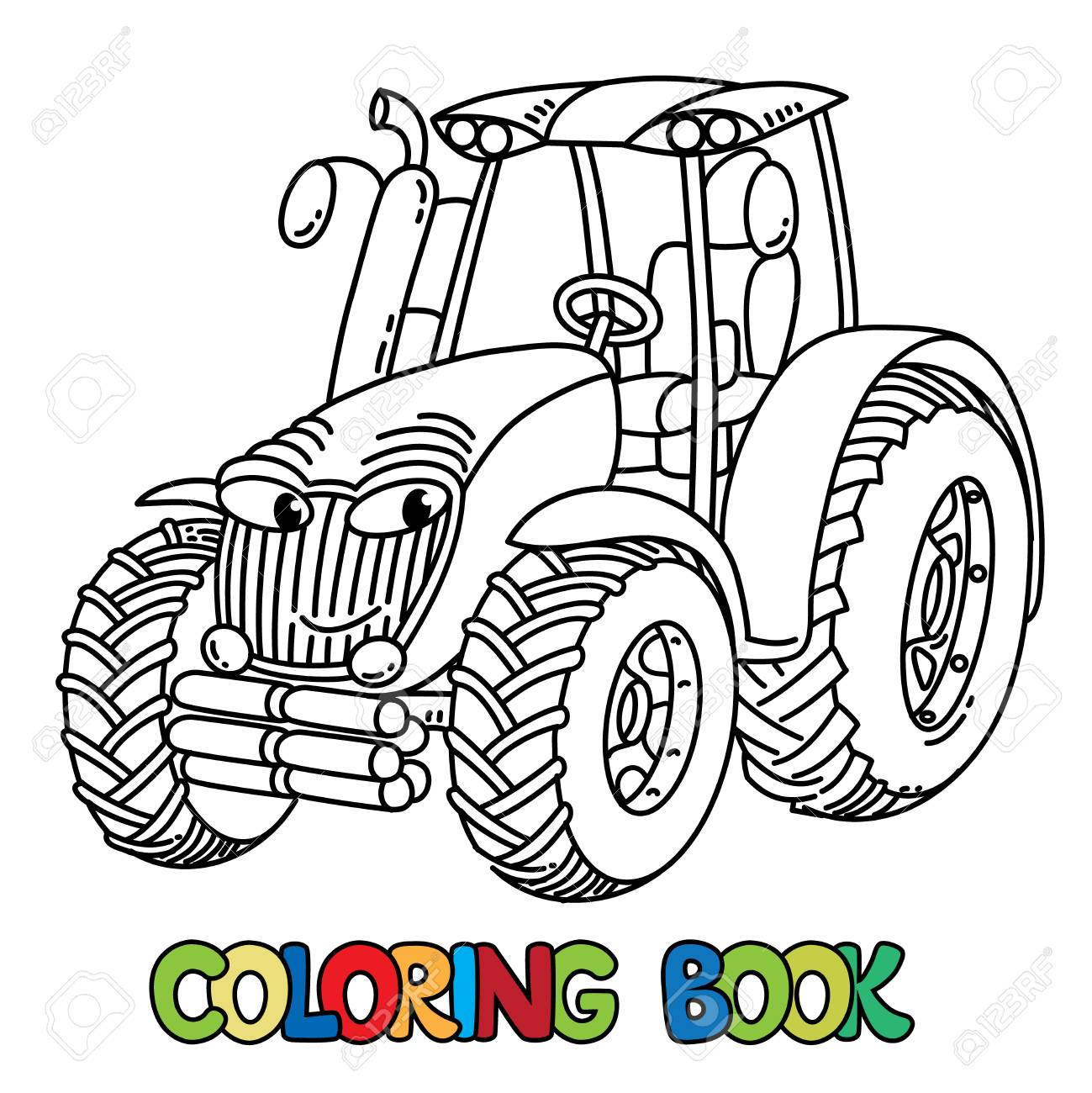 Tractor Coloring Book For Kids Small Funny Vector Cute Car With