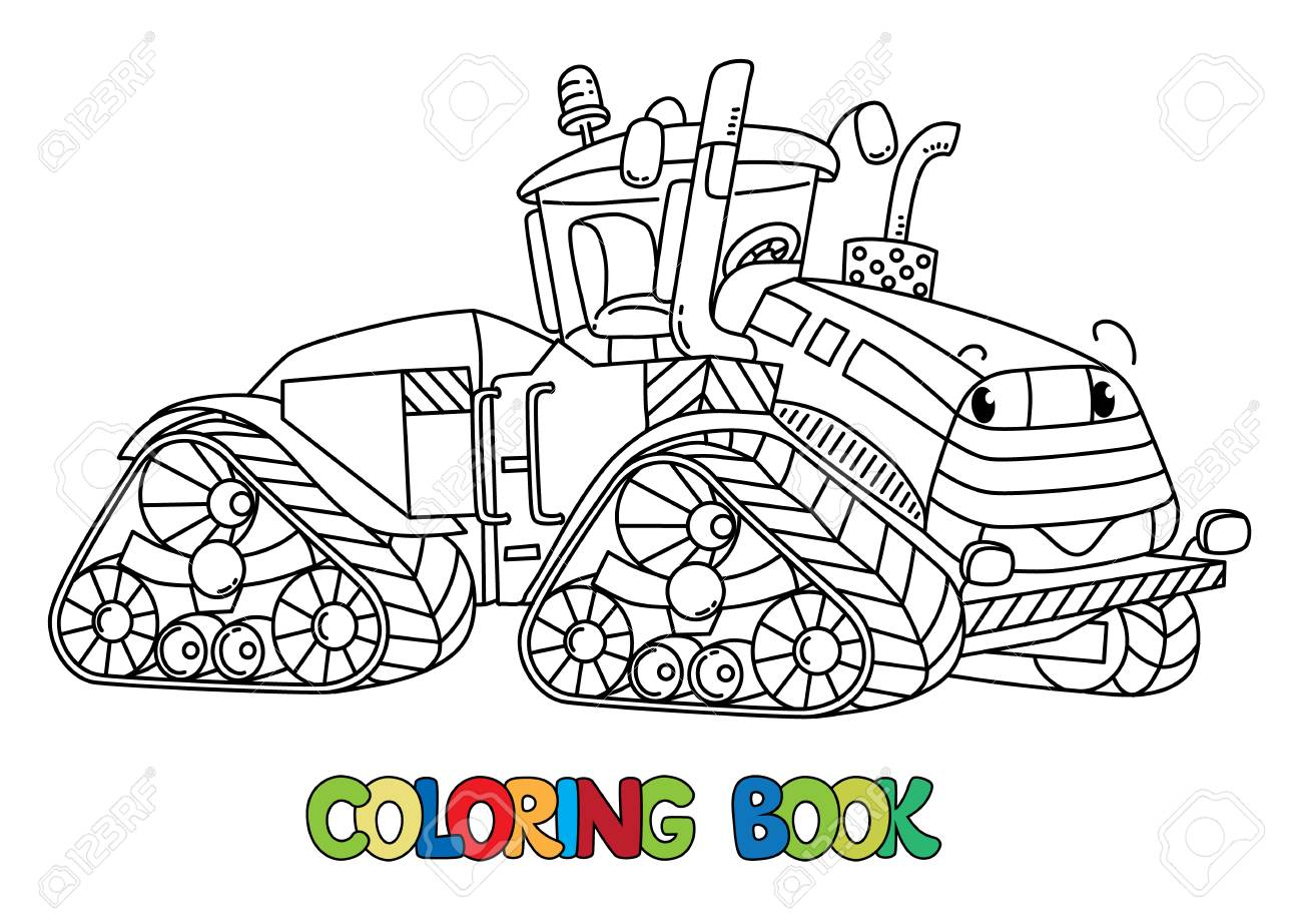 Tractor Coloring Book For Kids. Small Funny Vector Cute Car With ...