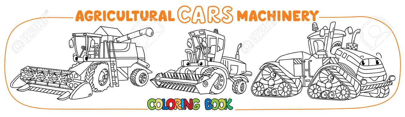 Combine Harvester, Lawn Mower And Big Tractor Coloring Book For ...