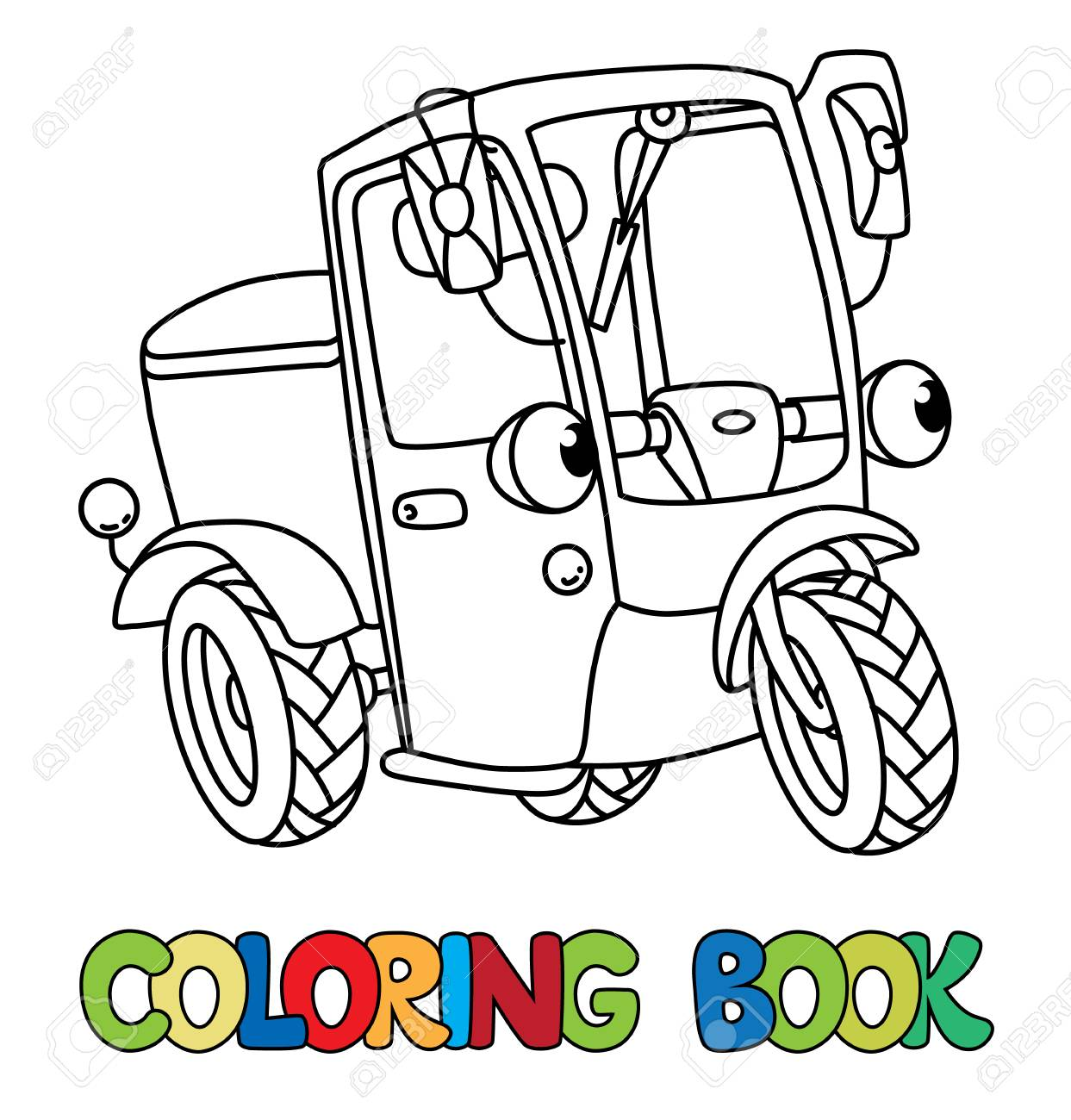 Scooter Or Delivery Car Coloring Book For Kids Small Funny Vector Cute Vehicle With Eyes