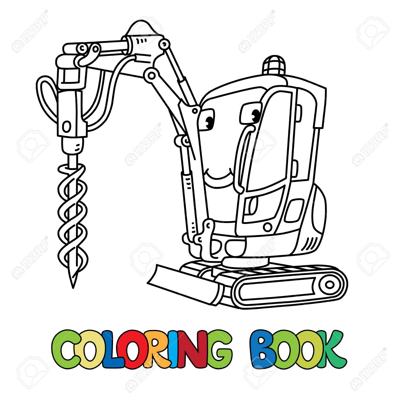 Tracked car with a drilling rig coloring book for kids. Small funny vector cute car with eyes and mouth. Children vector illustration. Heavy equipment and machinery - 101108039