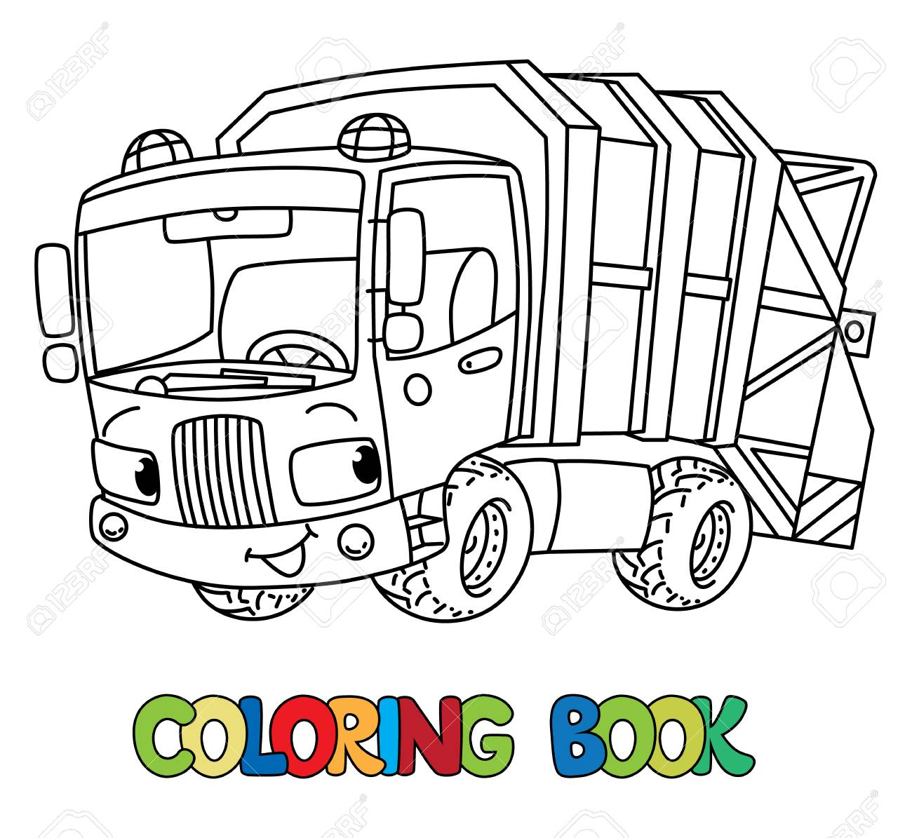 - Funny Garbage Truck Car With Eyes. Coloring Book Royalty Free