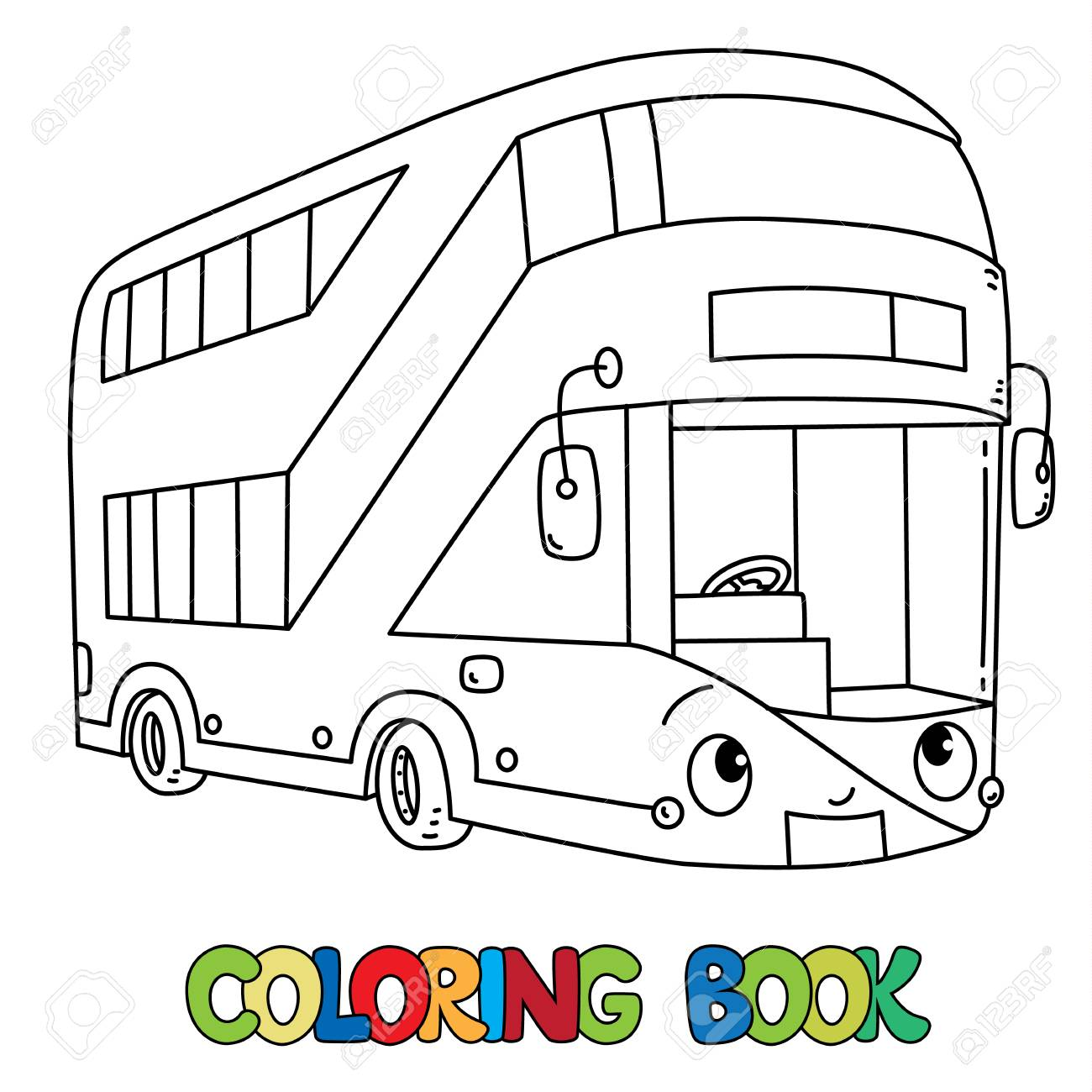 London Modern Double Decker Bus Coloring Book For Kids Small