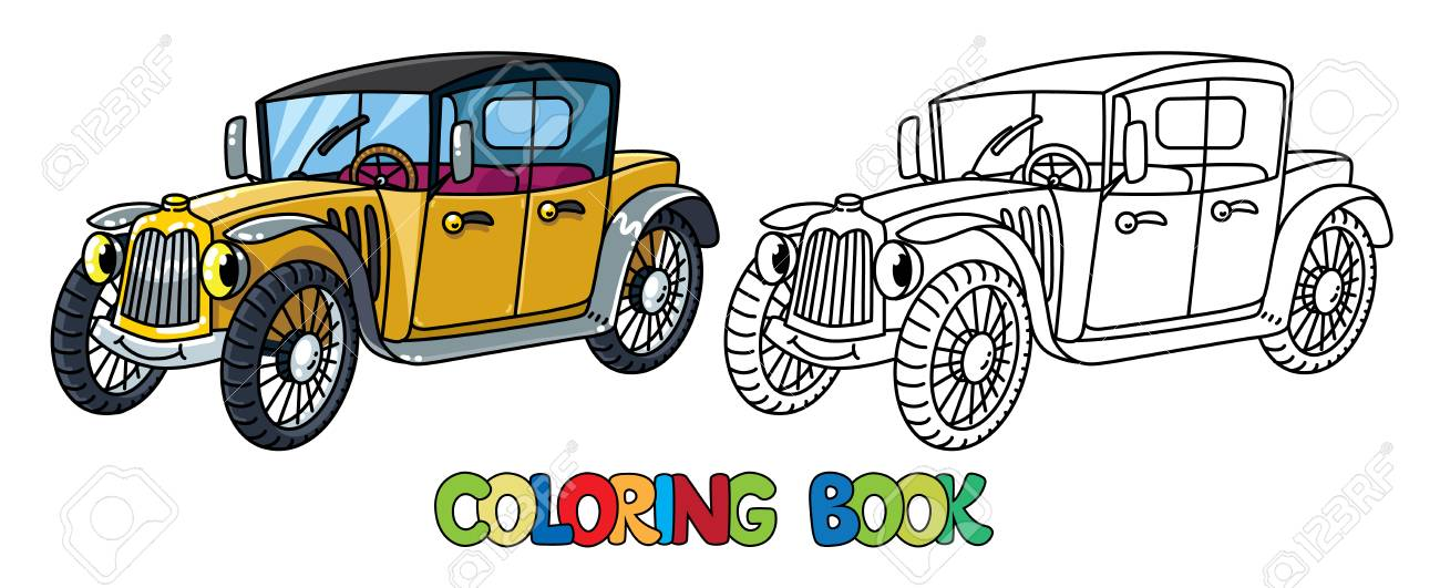 Retro Car Coloring Book For Kids. Small Funny Vector Cute Vehicle ...