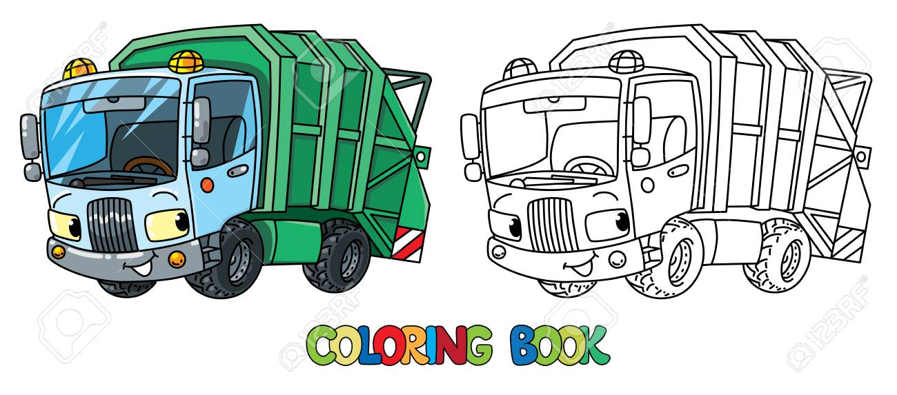 Garbage Truck Or Trash Car Coloring Book. Small Funny Vector Cute ...