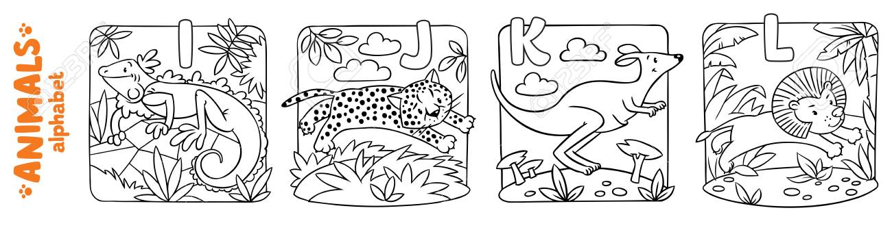 Animals Alphabet Or ABC. Coloring Book Set Lizenzfrei Nutzbare ...