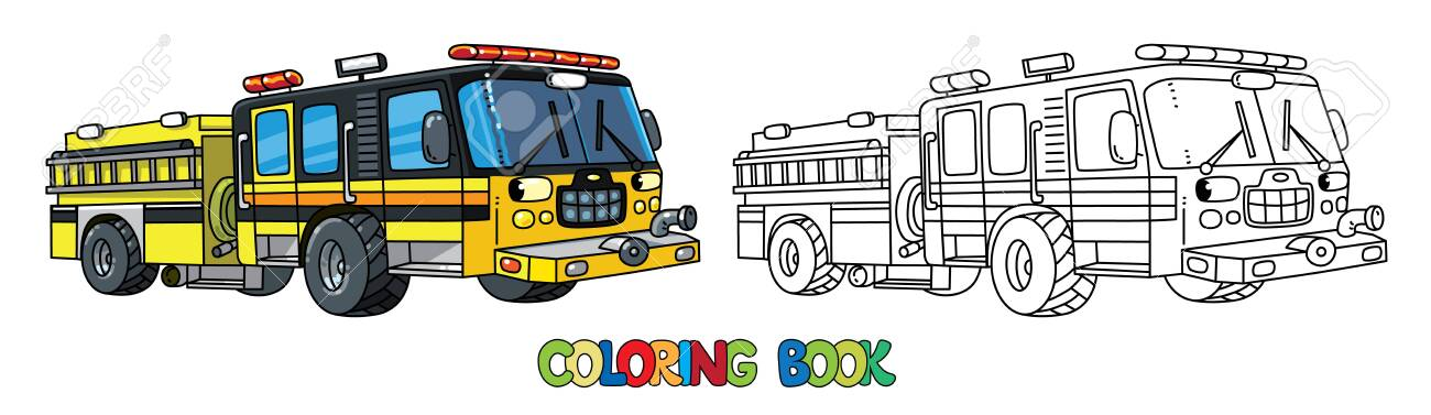 Fire truck or fire engine with eyes Coloring book