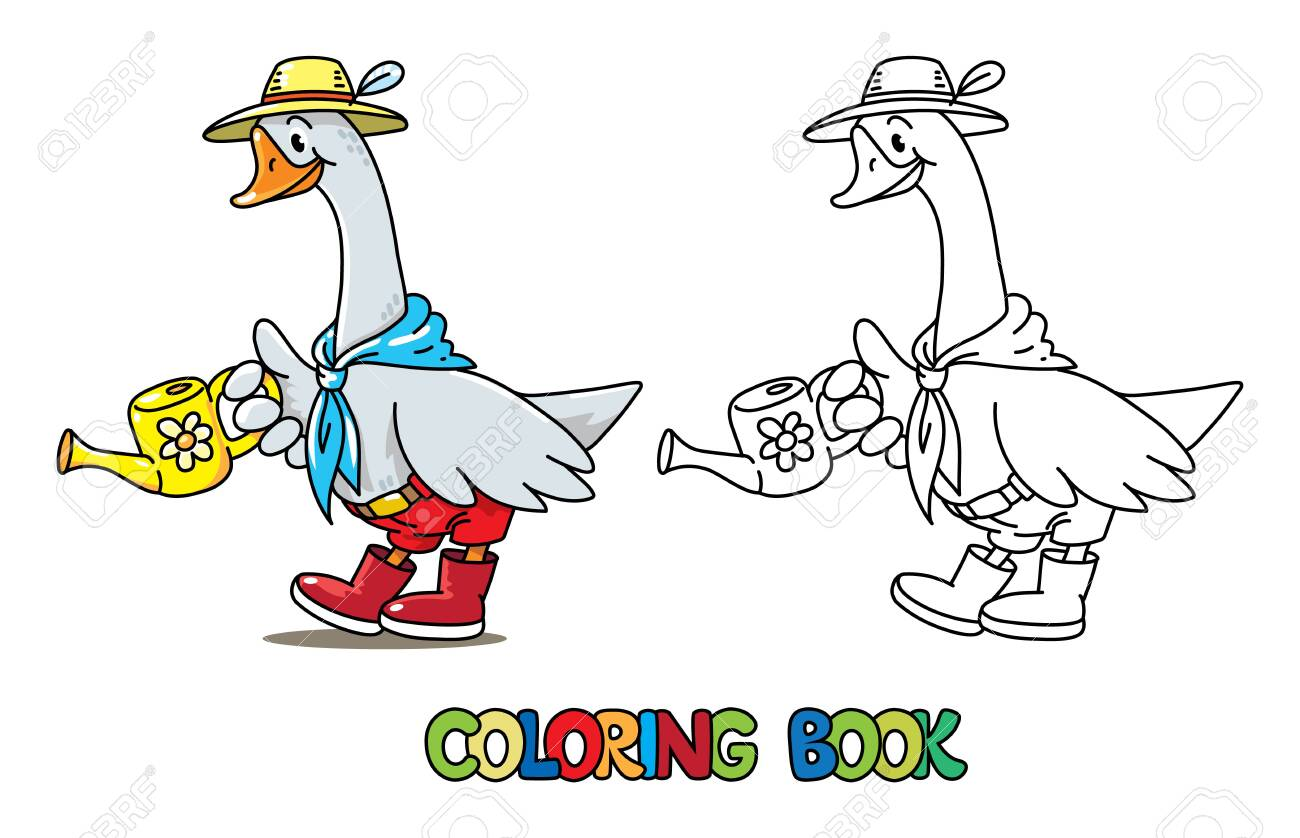 - Goose Gardener. Coloring Book Of Funny Goose In Hat And Rubber