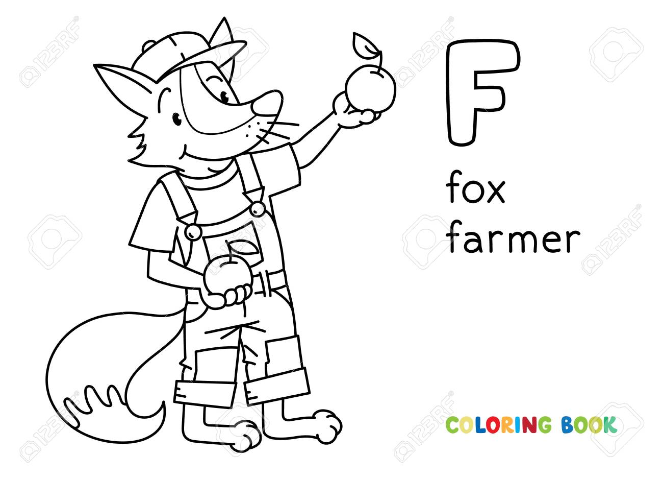 Fox Farmer Abc Coloring Book Alphabet F Royalty Free Cliparts Vectors And Stock Illustration Image 142930232