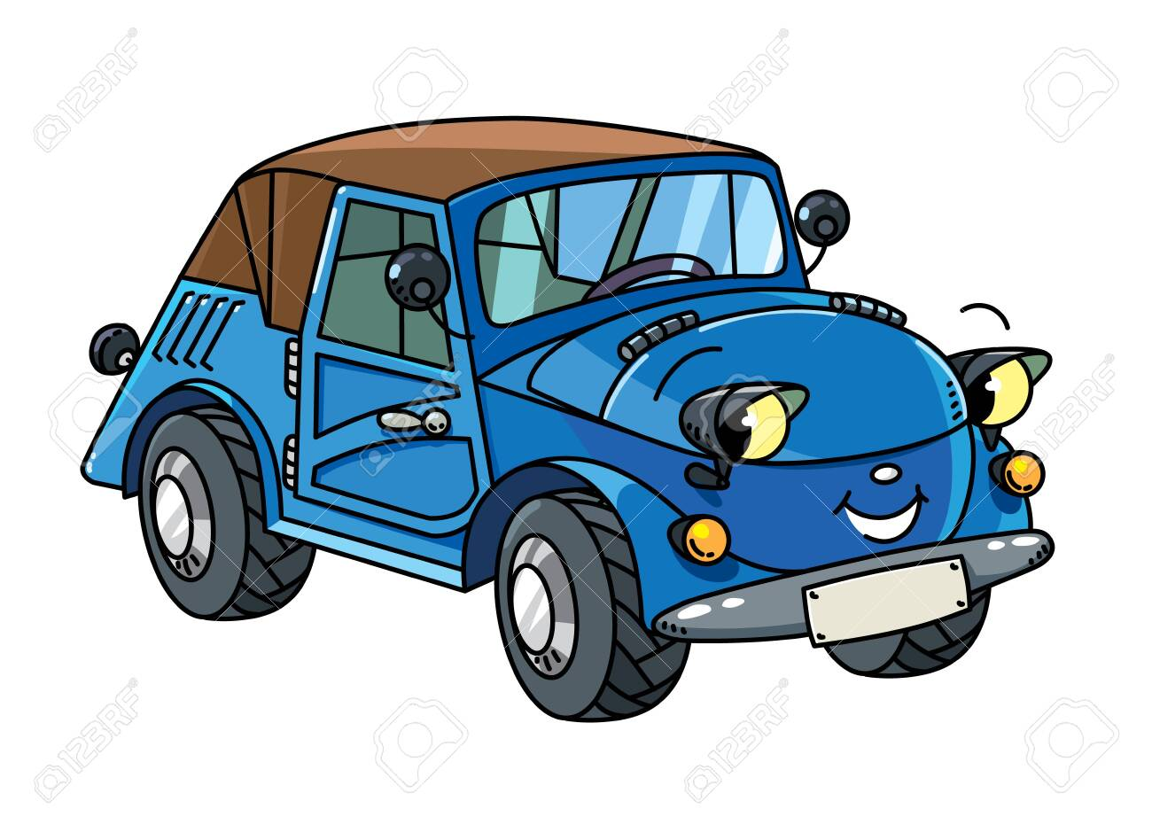 Funny small retro car with eyes and mouth. - 158052604
