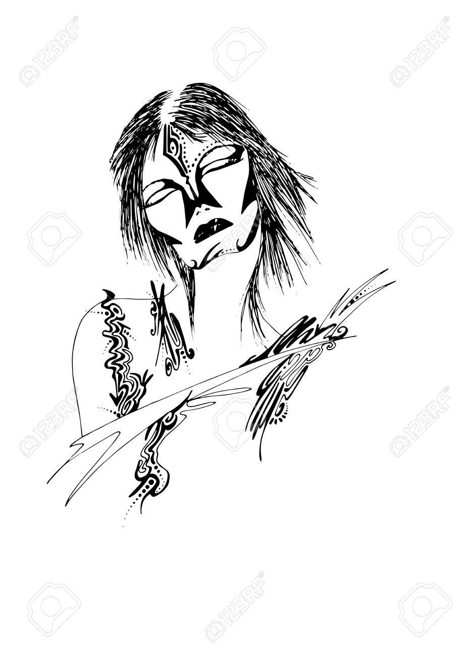 illustration of woman tribal style Stock Vector - 17964259