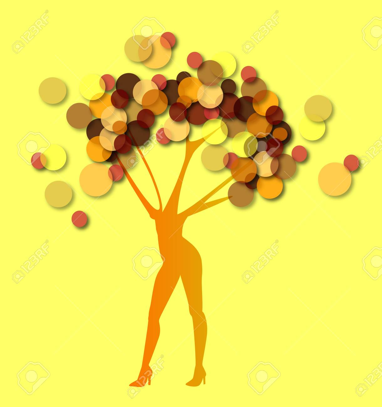 the woman tree on yellow background Stock Vector - 18387039