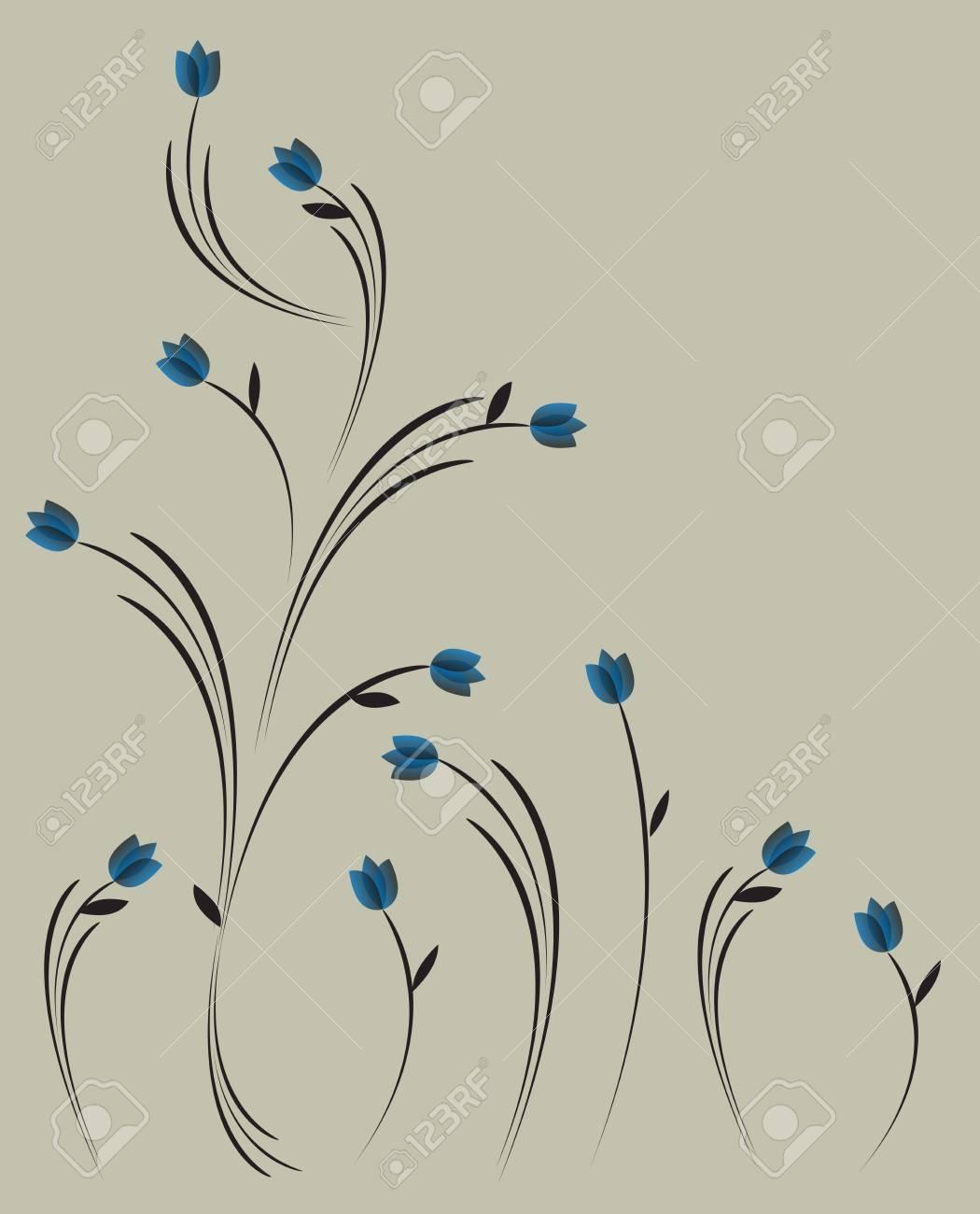 76c900c1dc73 Vintage-Stil Blumenmuster mit blauen Blumen Standard-Bild - 19266879