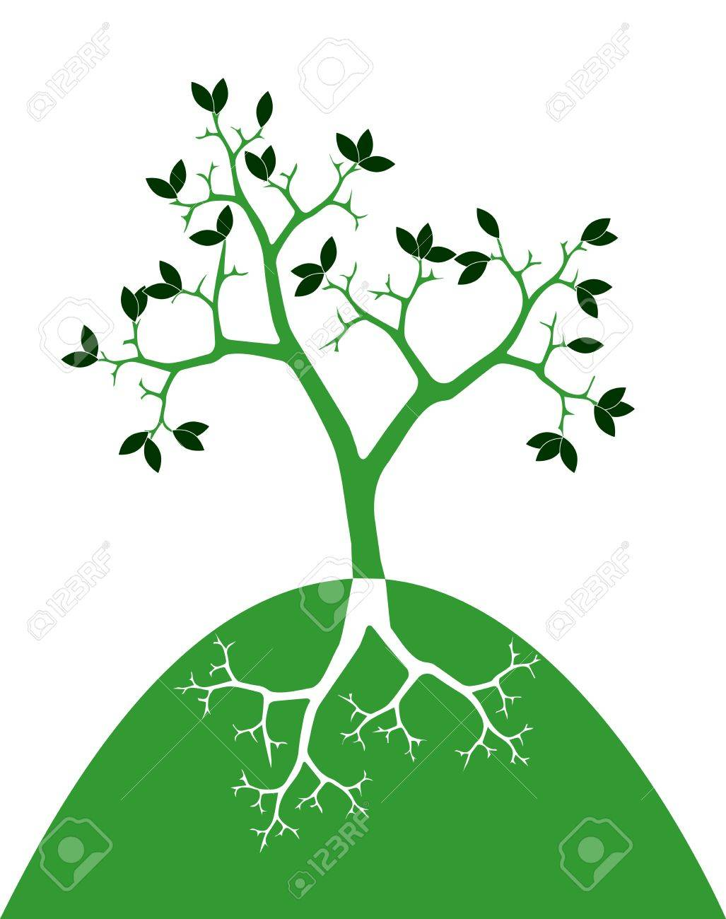 symbol of tree with roots on white background Stock Vector - 19266877