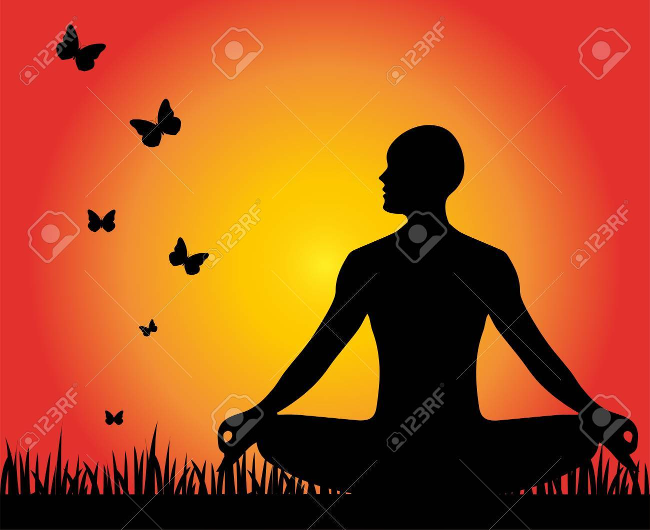 human silhouette in yoga position Stock Vector - 22151081