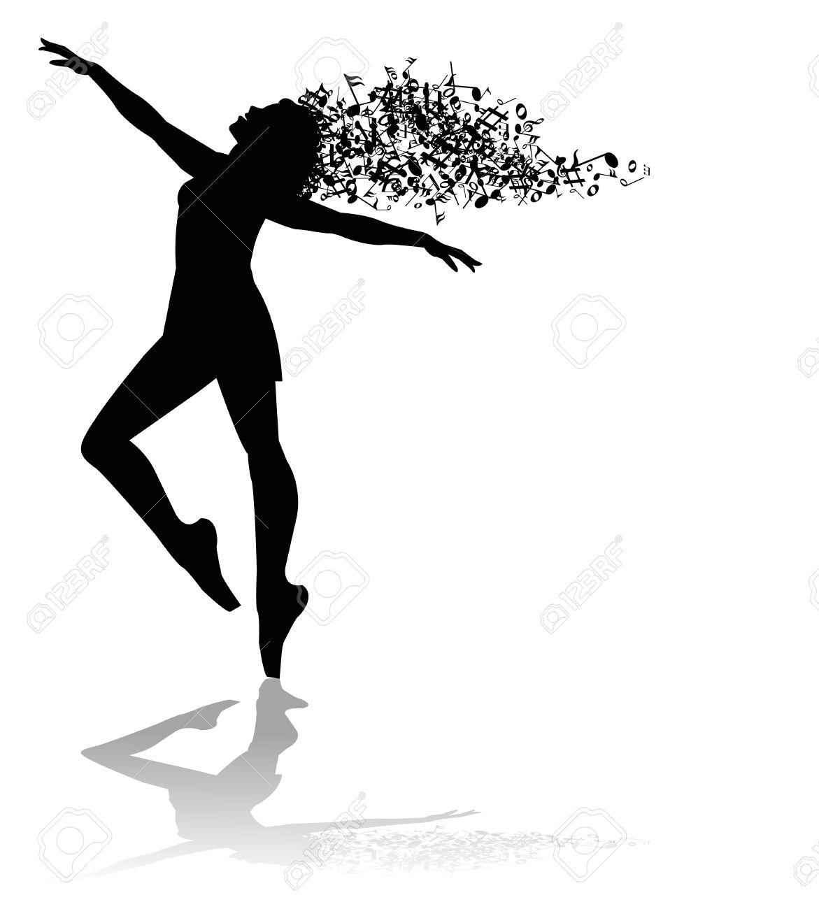 silueta de bailarín y las notas musicales ilustraciones vectoriales