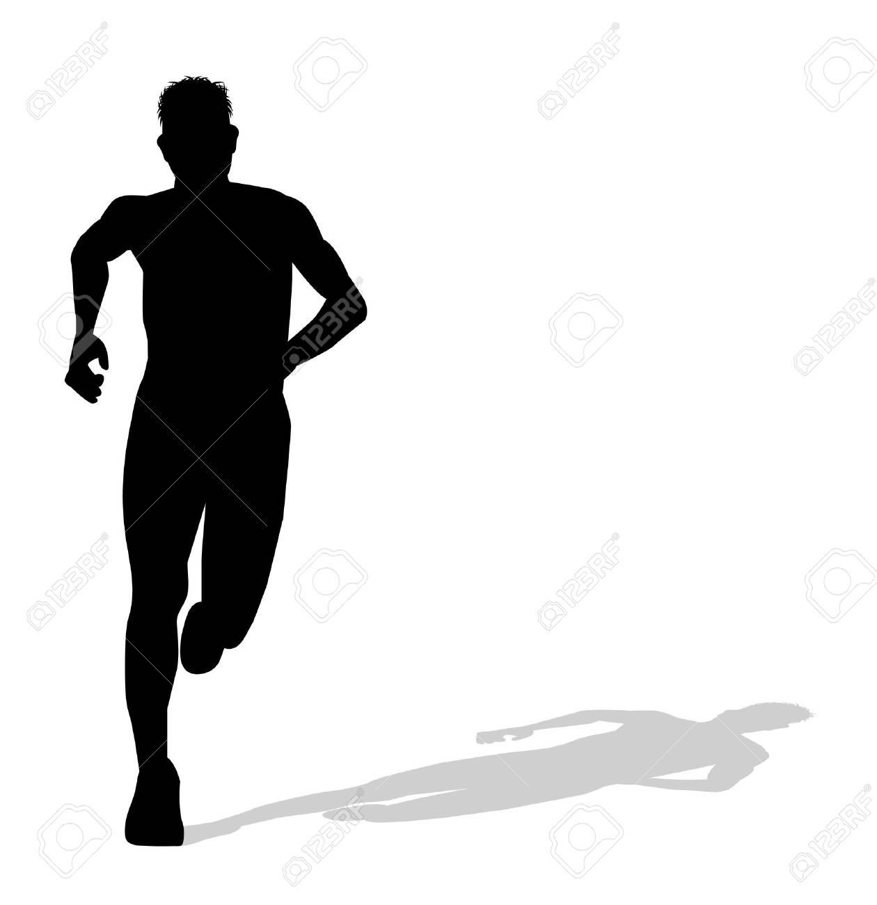 走っている人のシルエットのイラスト素材ベクタ Image 35503191