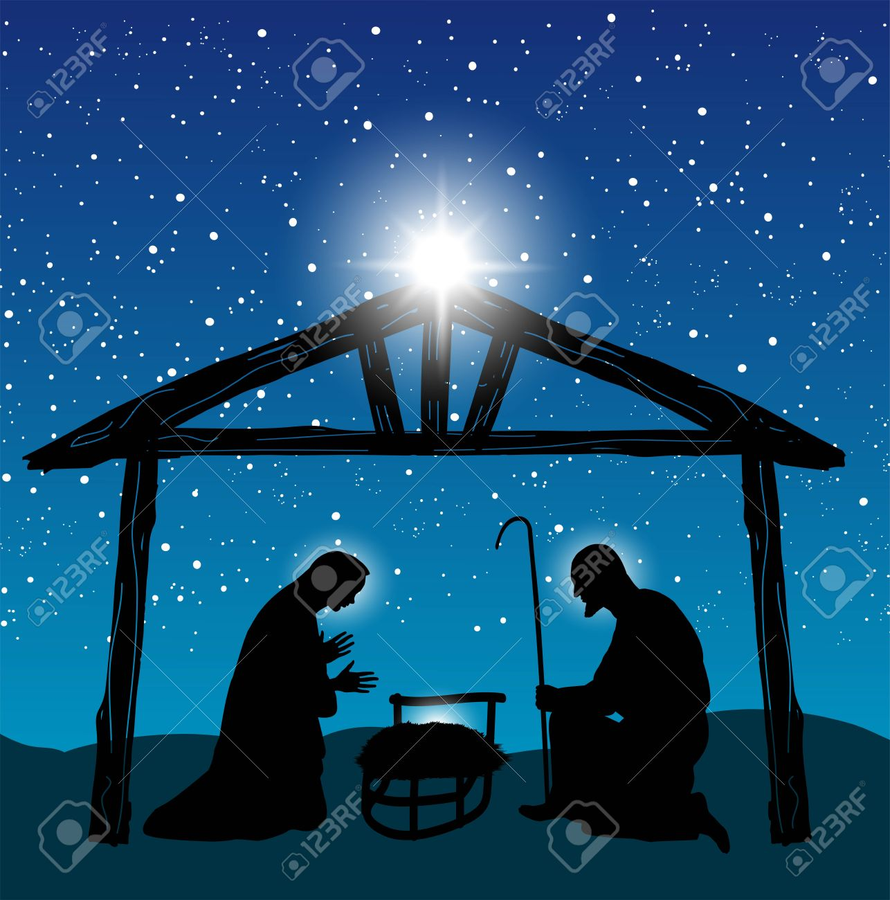 Christmas Christian Nativity Scene With Baby Jesus In The Manger Silhouette And Star Of