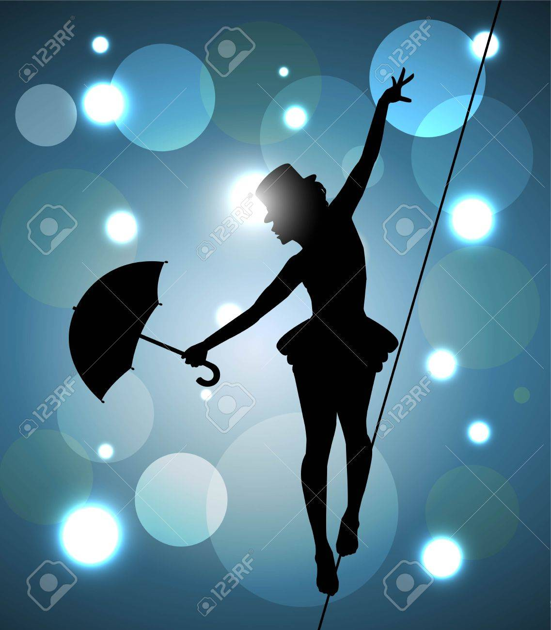 Tightrope Walker Girl With Umbrella Balancing On The Wire Royalty ...
