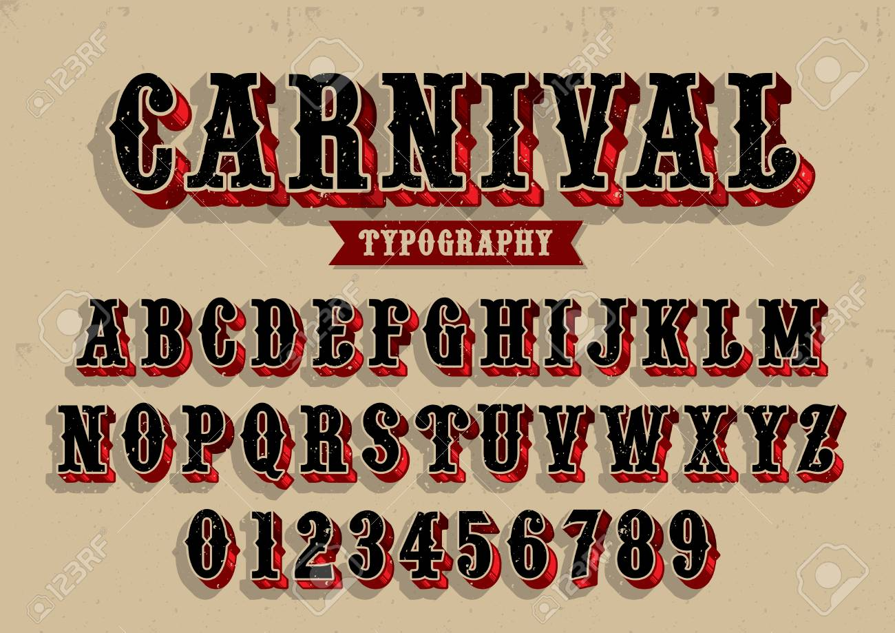 Vector Of Vintage Carnival Font And Alphabet Royalty Free Cliparts