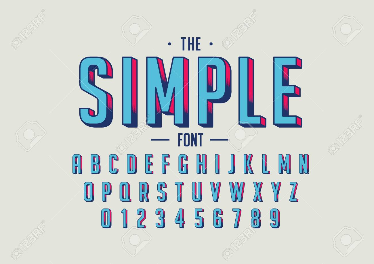 Vector Of Retro Bold Font And Alphabet Royalty Free Cliparts
