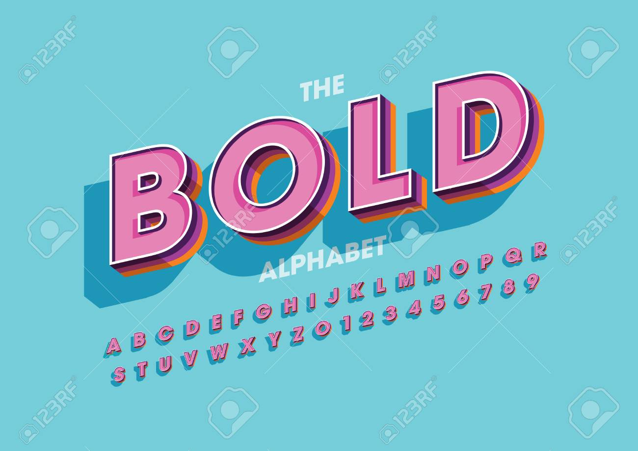 Vector of modern colorful font and alphabet - 95300829