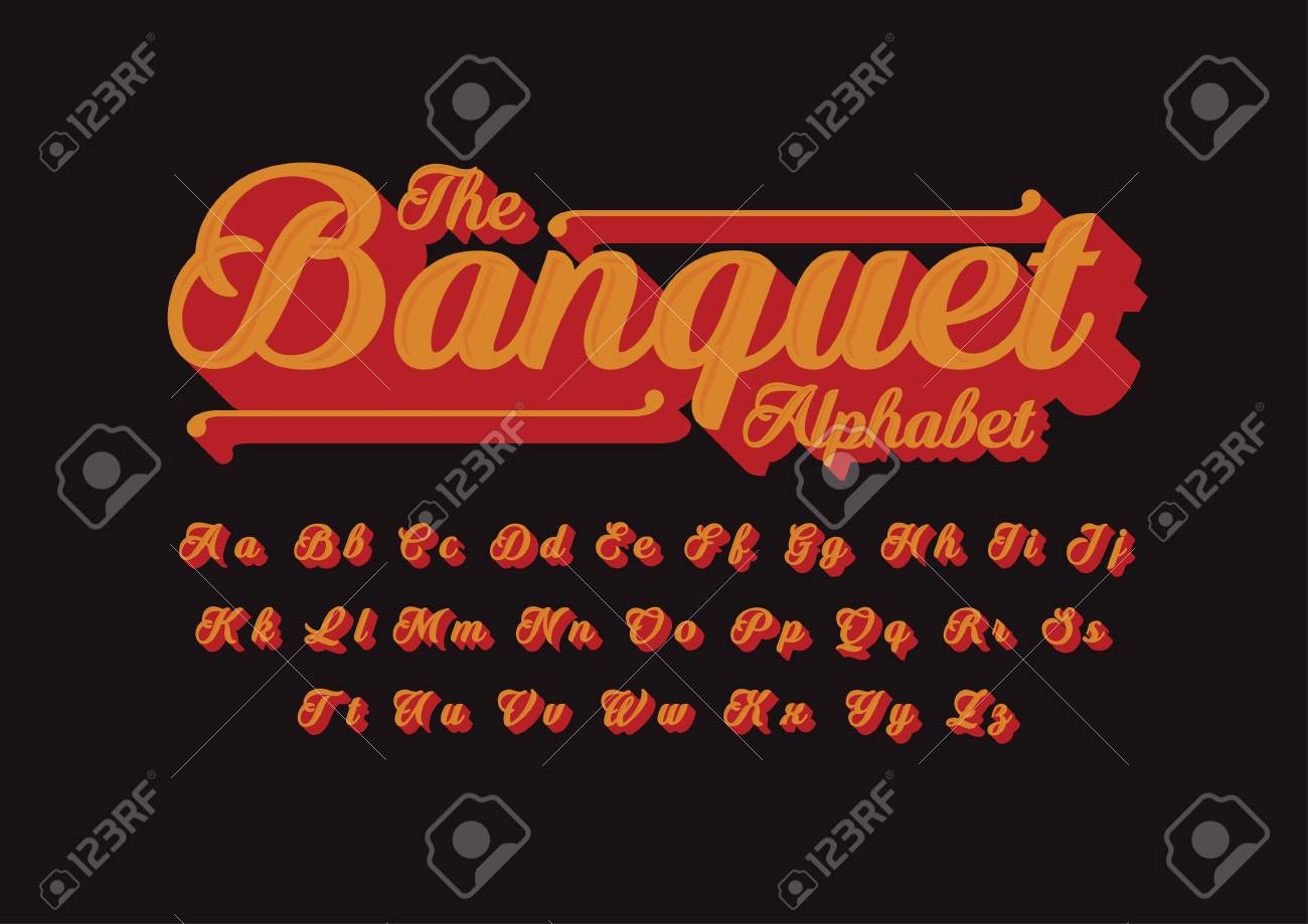 Vector of vintage cursive font and alphabet