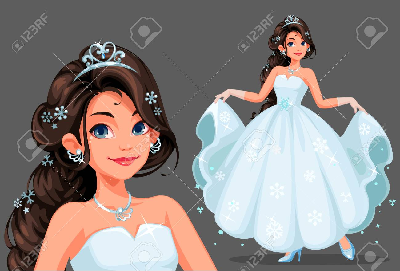 Beautiful cute princess with long braided hairstyle holding her long white dress vector illustration - 124106229
