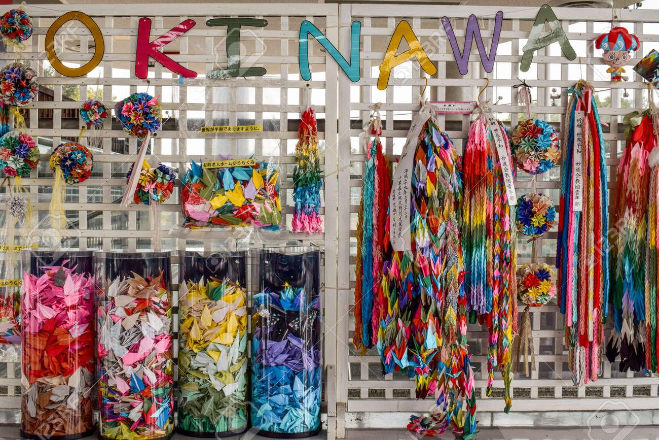 Okinawa war memorial colorful paper albatross chains - 151596553