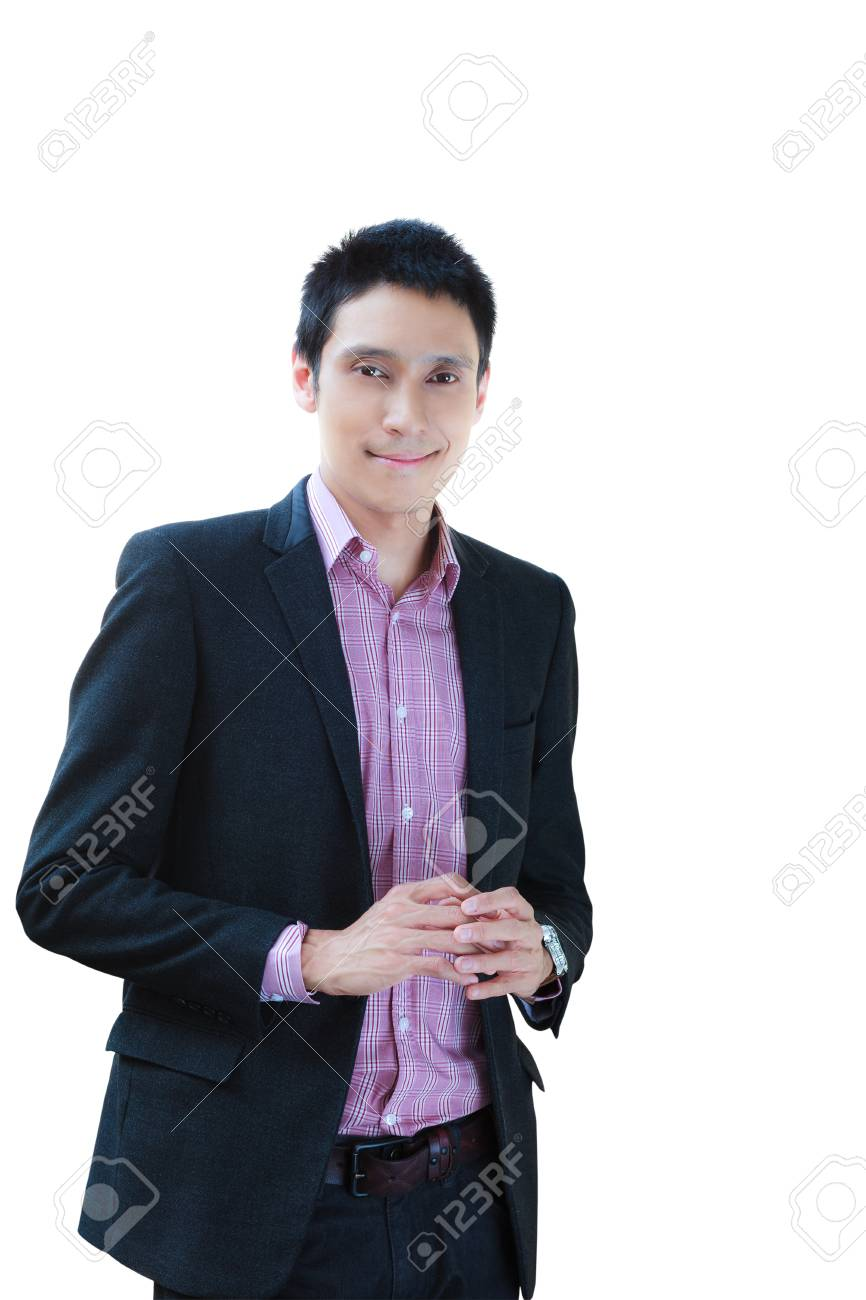 Smiling business man standing isolated on wihte Stock Photo - 12427892