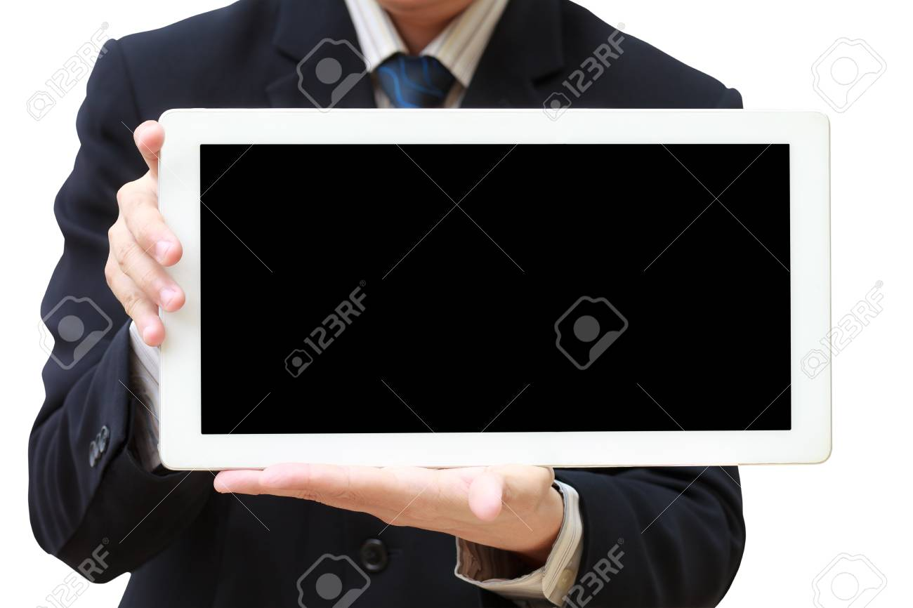 Person hand holds tablet computer isolated on white Stock Photo - 12427981