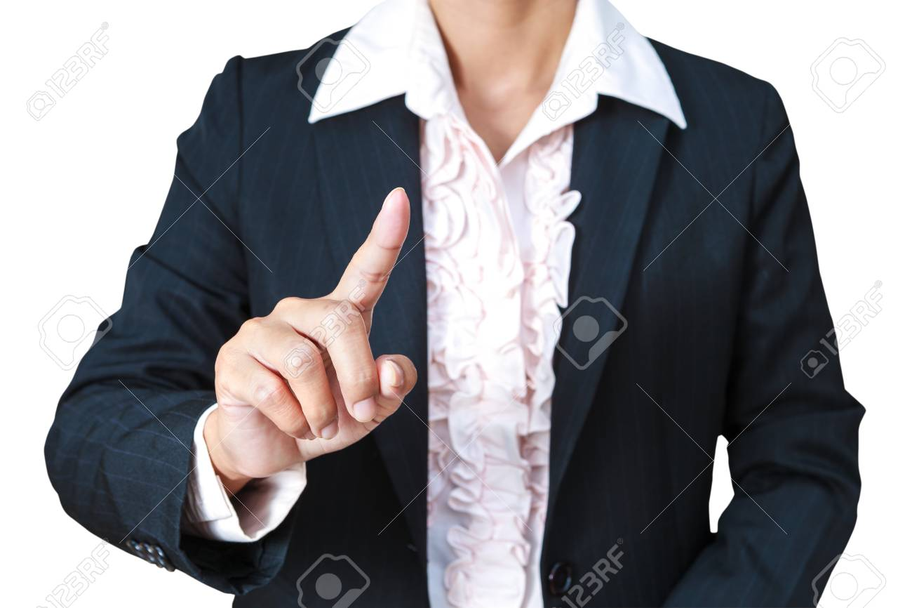 Businesswoman pushing on the whiteboard Stock Photo - 12751444