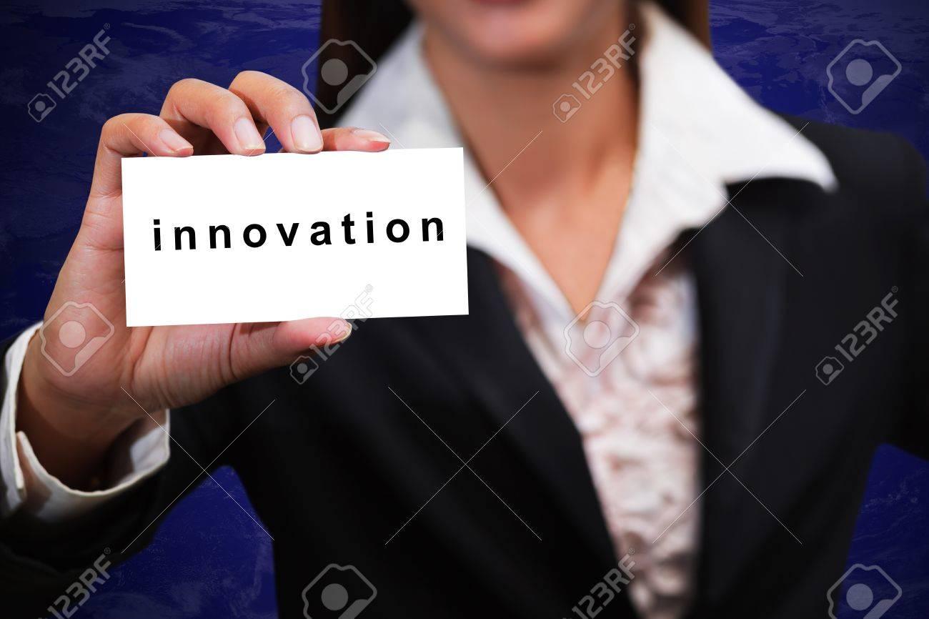 Business woman hand show innovation card Stock Photo - 14031448