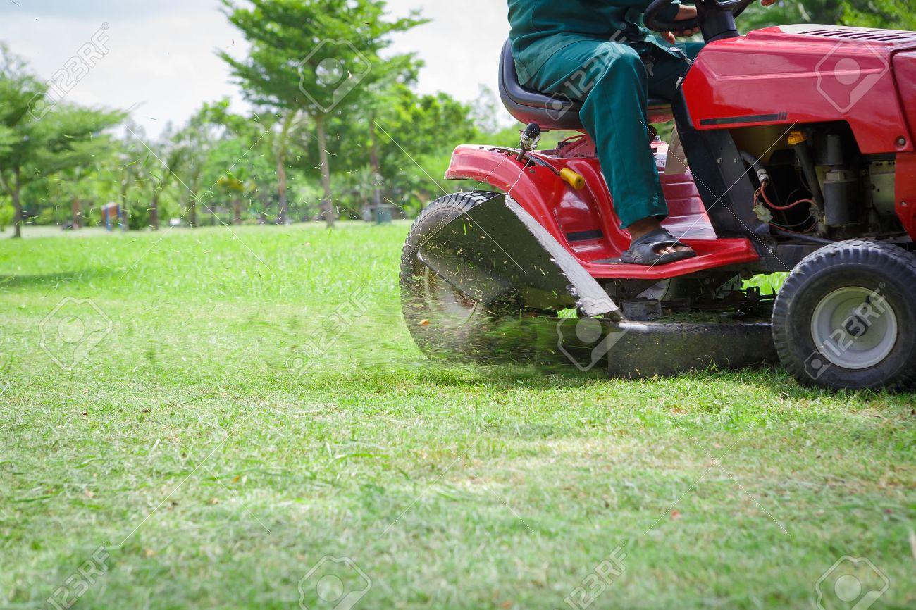 Lawnmower cutting overgrown grass Stock Photo - 14075153