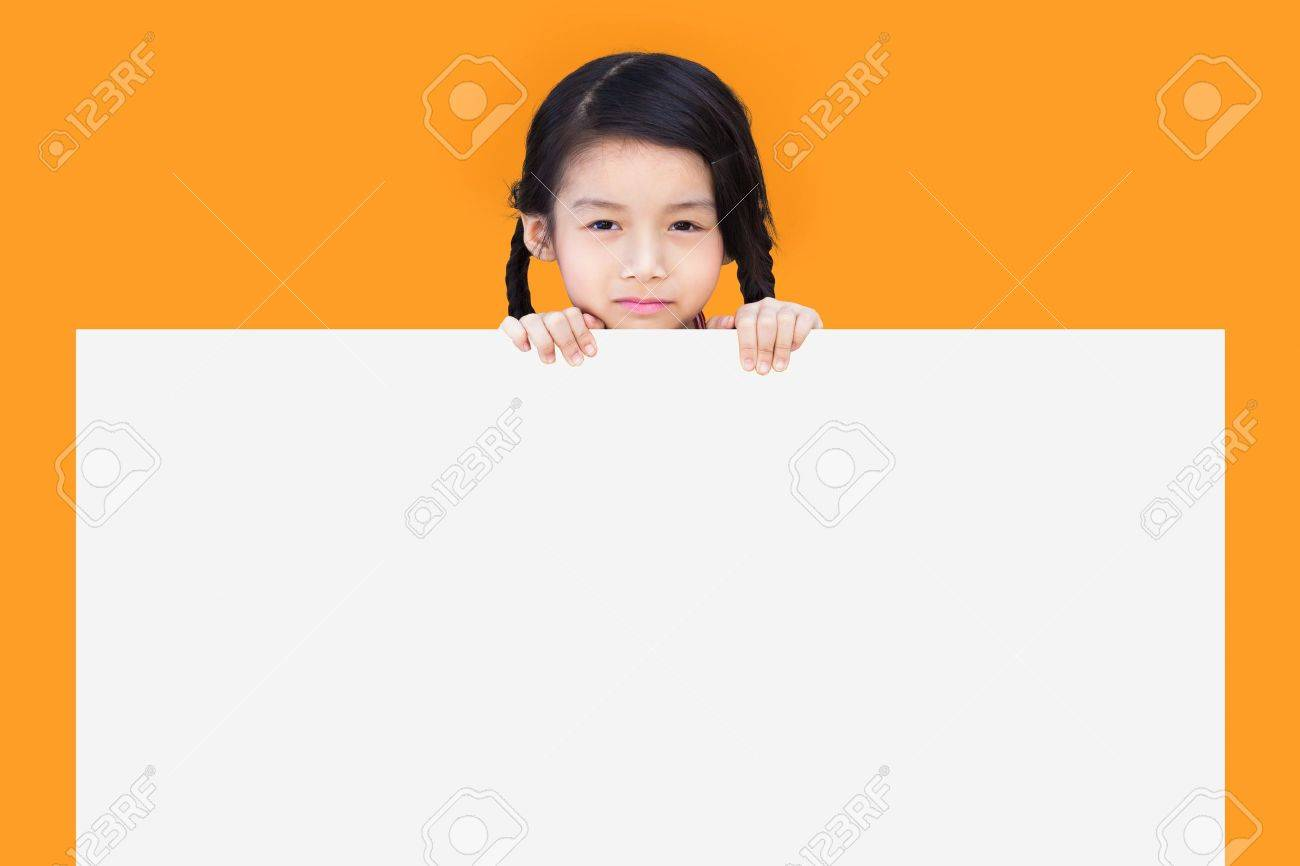 Little child behind white board Stock Photo - 16327548