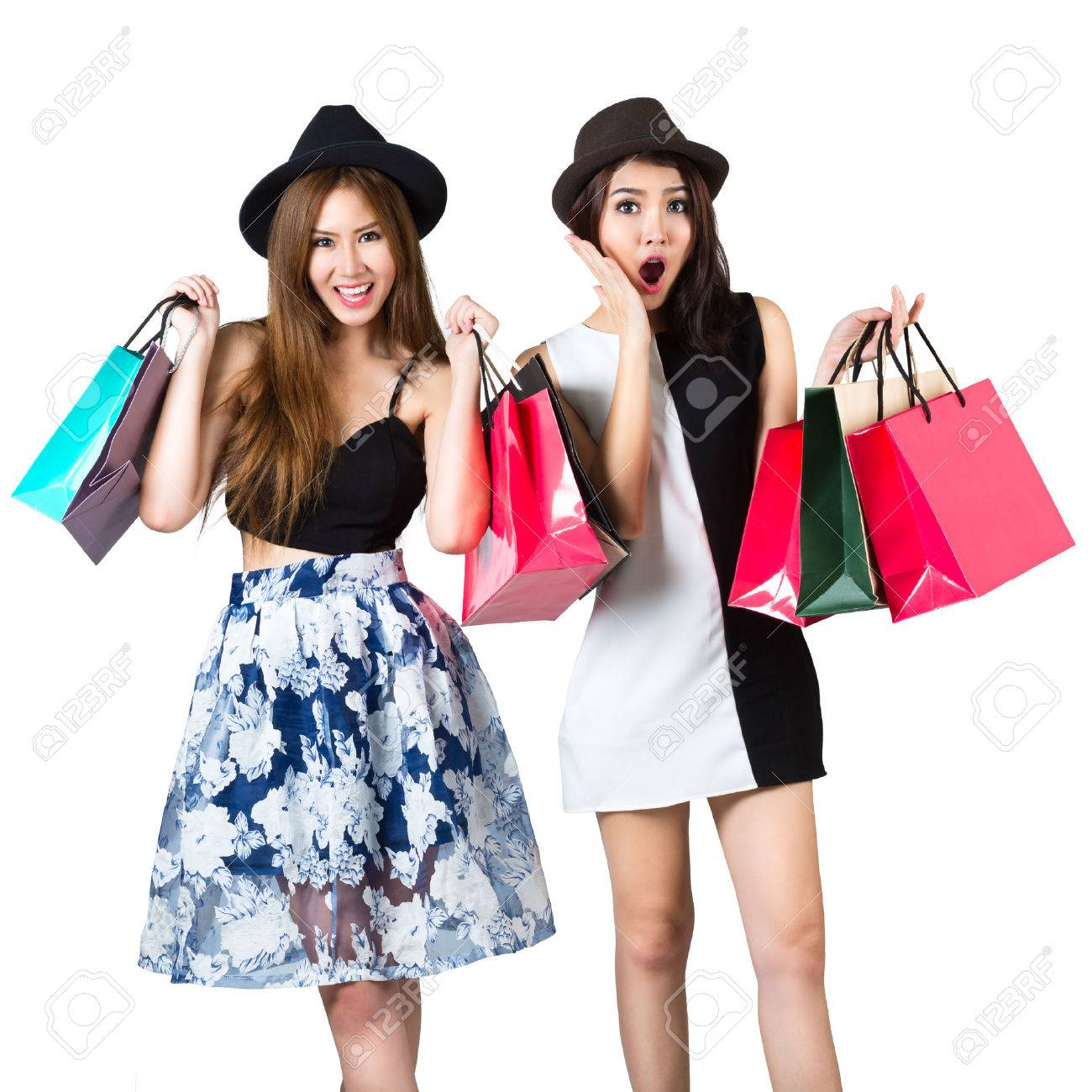 Beautiful Asian Teen Girls Carrying Shopping Bags, Isolated Over ...
