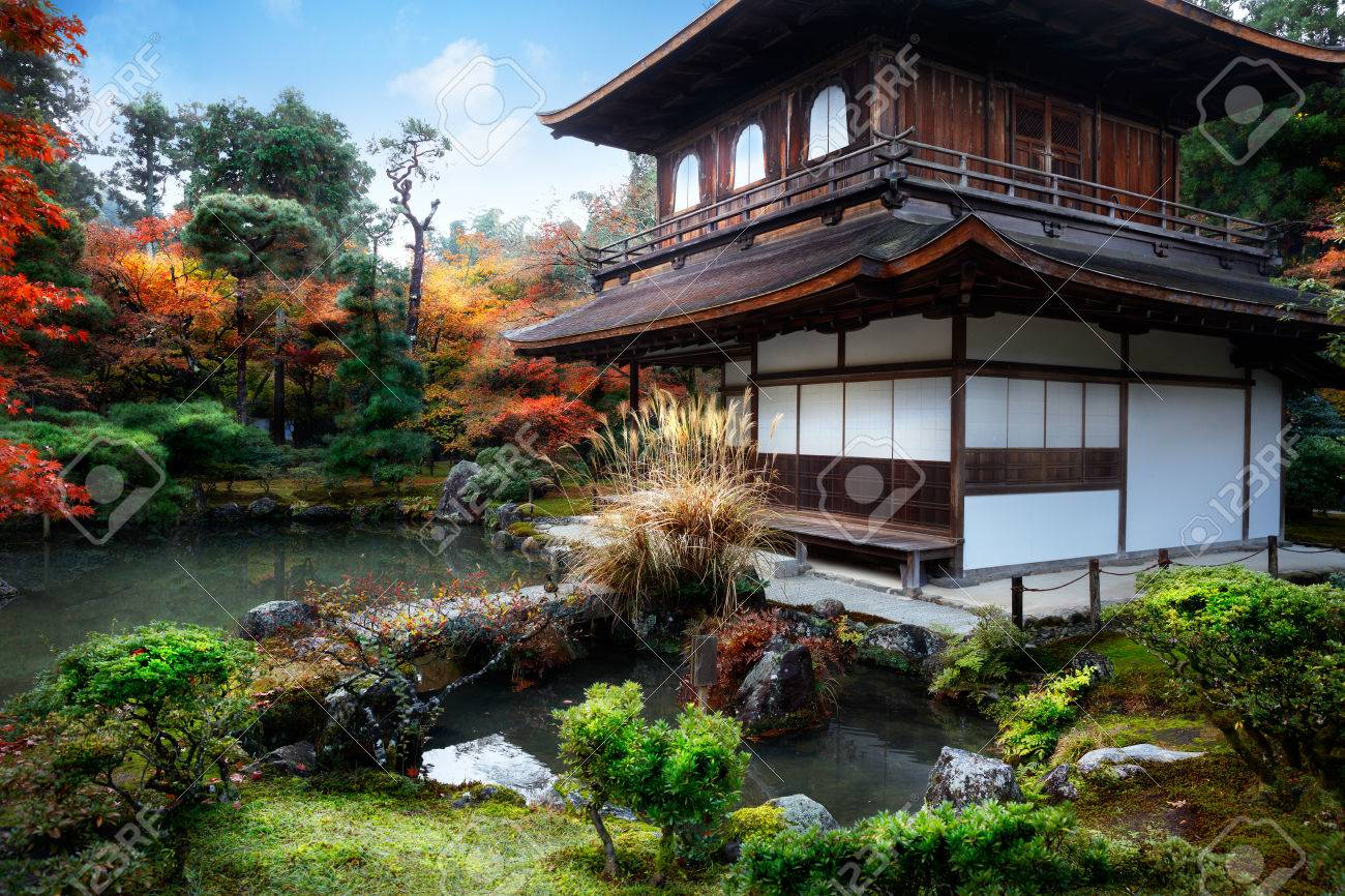 Japanese Garden In Ginkakuji Temple Kyoto Japan Stock Photo