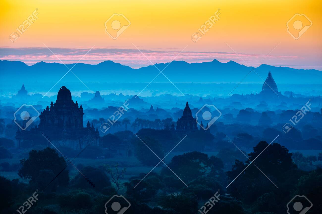 Scenic sunrise above bagan in Myanmar Bagan is an ancient city with thousands of historic buddhist - 121623612