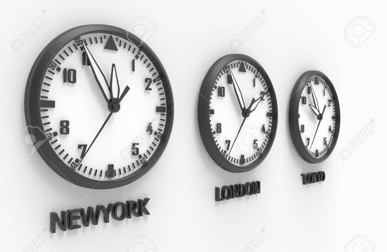 cf2edfe8f4e 3d illustration of New York London and tokyo time clock Stock Illustration  - 81690142