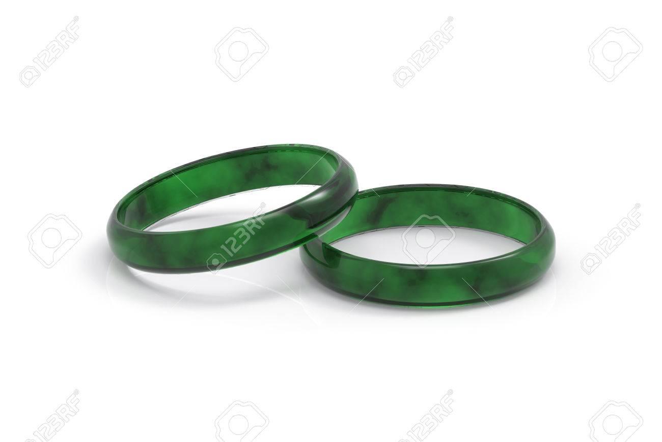 Banque d images - Rendu 3D Bracelet jade vert foncé luxueux et réaliste sur  fond blanc 35ea33449b74