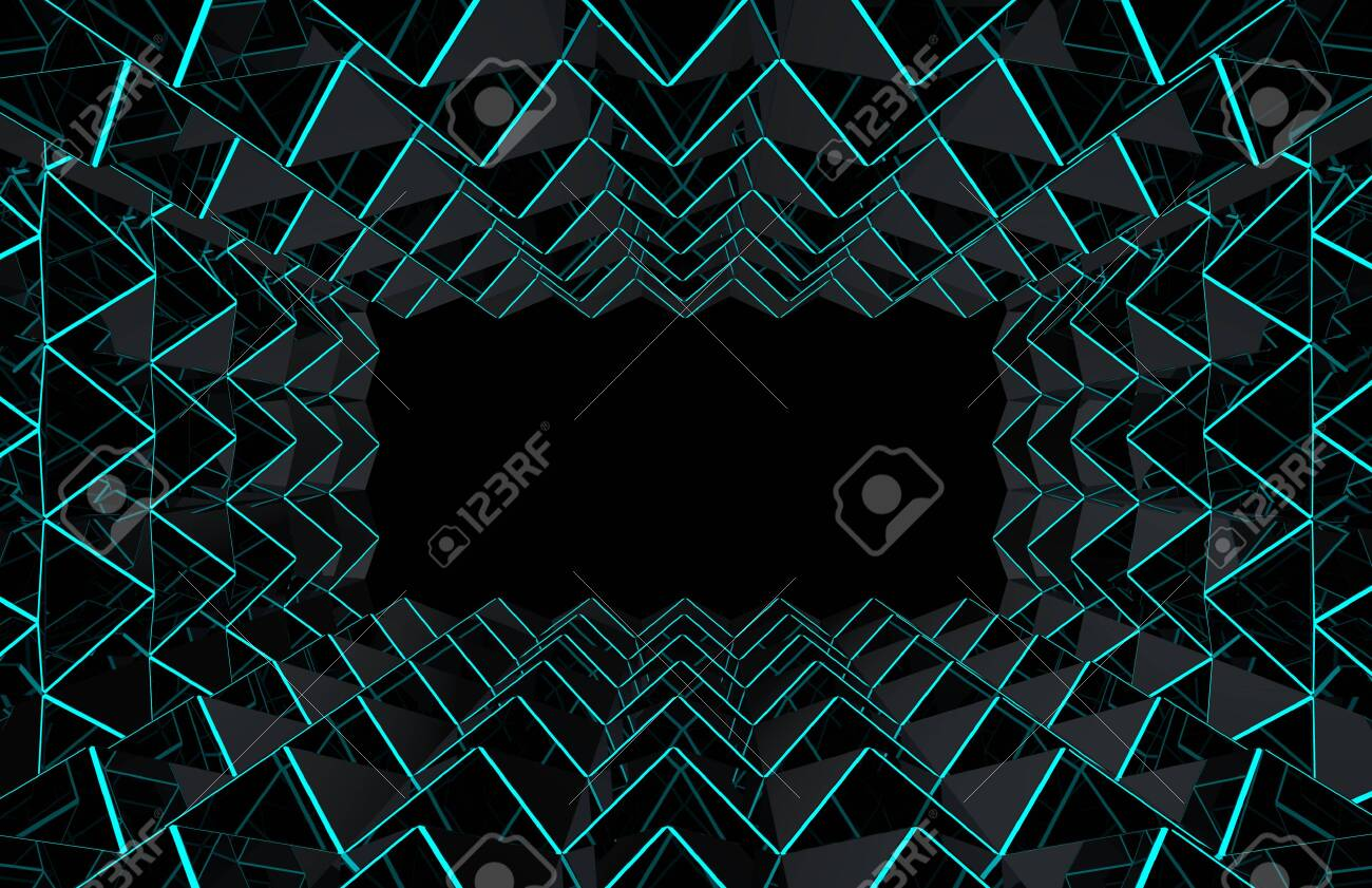 3d rendering  modern futuristic dark triangle grid with blue