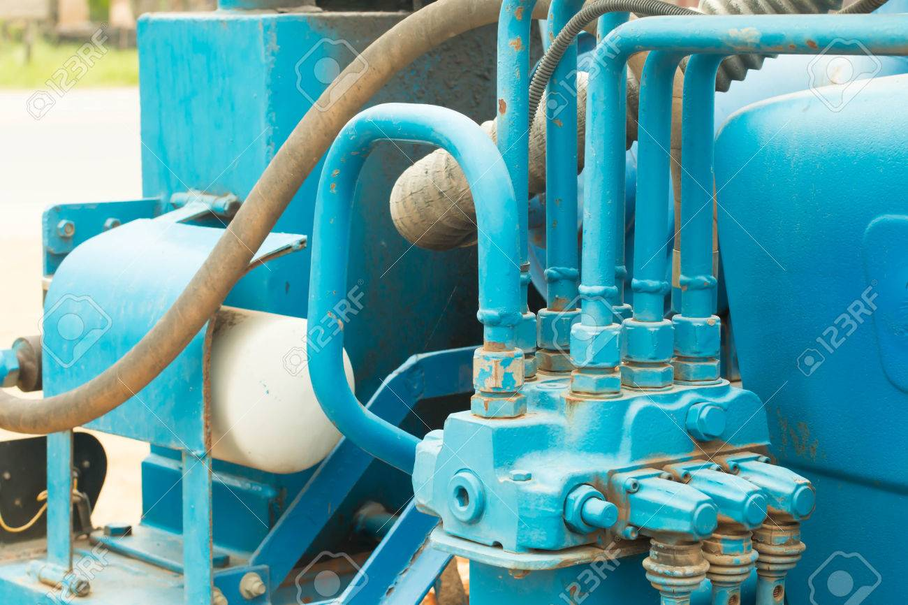 Hydraulic Tubes, Fittings And Levers On Control Panel Of Lifting ...