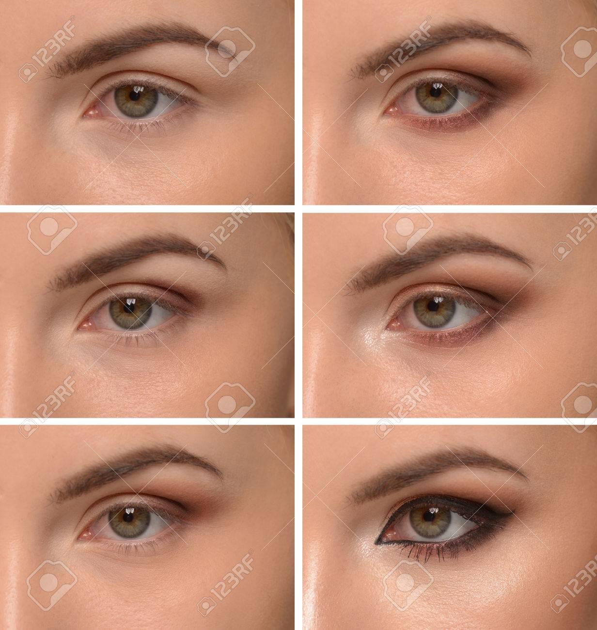 Exquisit Augen Make Up Schritt Für Schritt Dekoration Von Für Make-up Standard-bild - 85511083