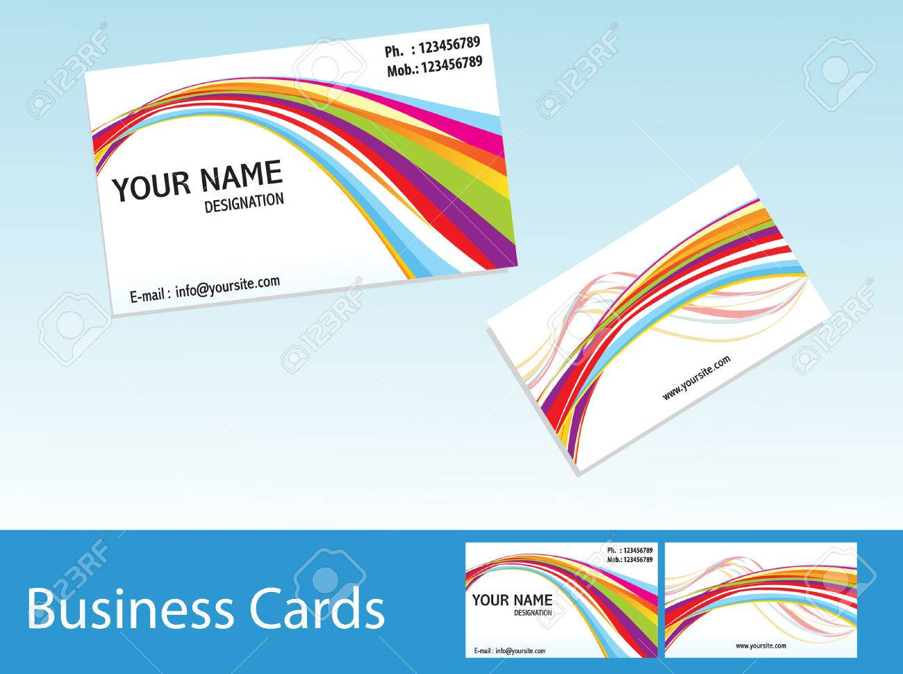 Abstract Colorful Business Cards Template Vector Illustration ...