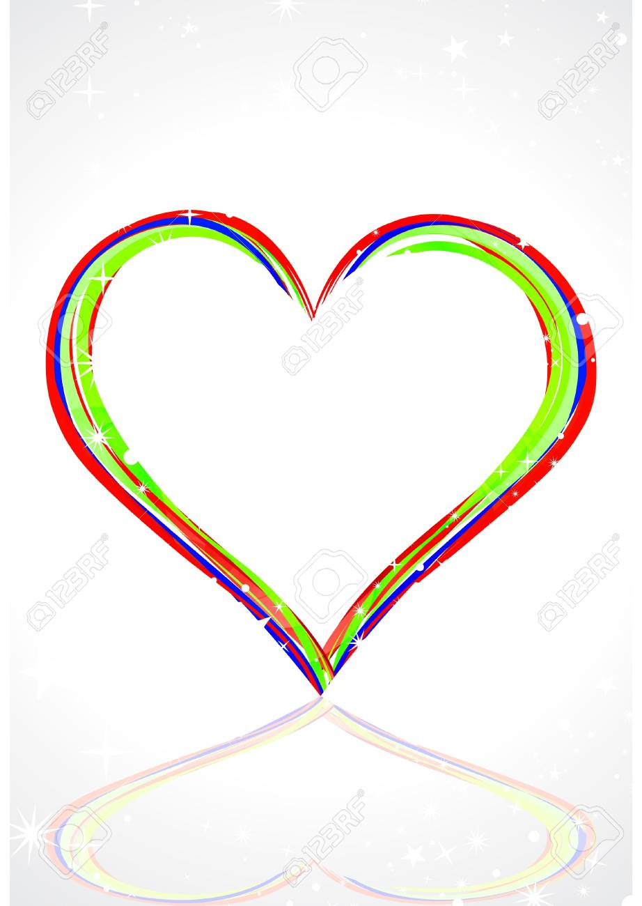 abstract colorful heart with line art Stock Vector - 9132305