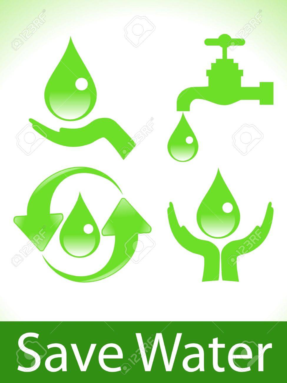abstract green save water icons vector illustration Stock Vector - 9131607