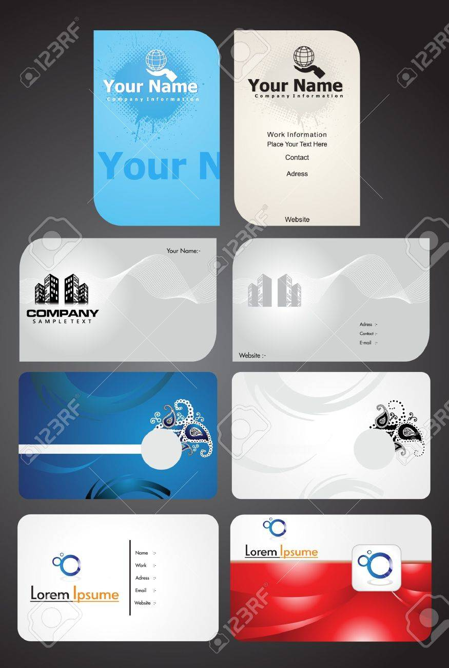 Abstract Multiple Business Cards Vector Illustration Royalty Free