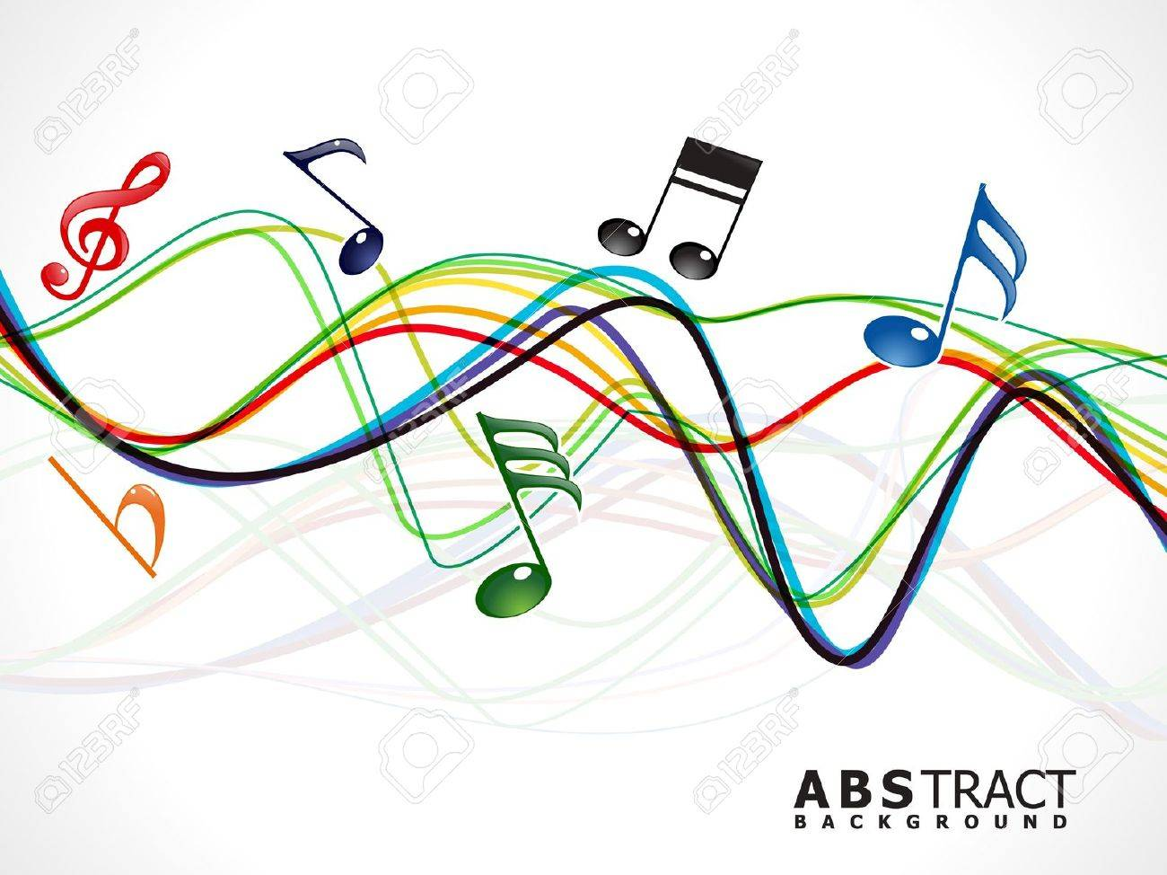 abstract colorful musical line wave vector illustration Stock Vector - 10037153