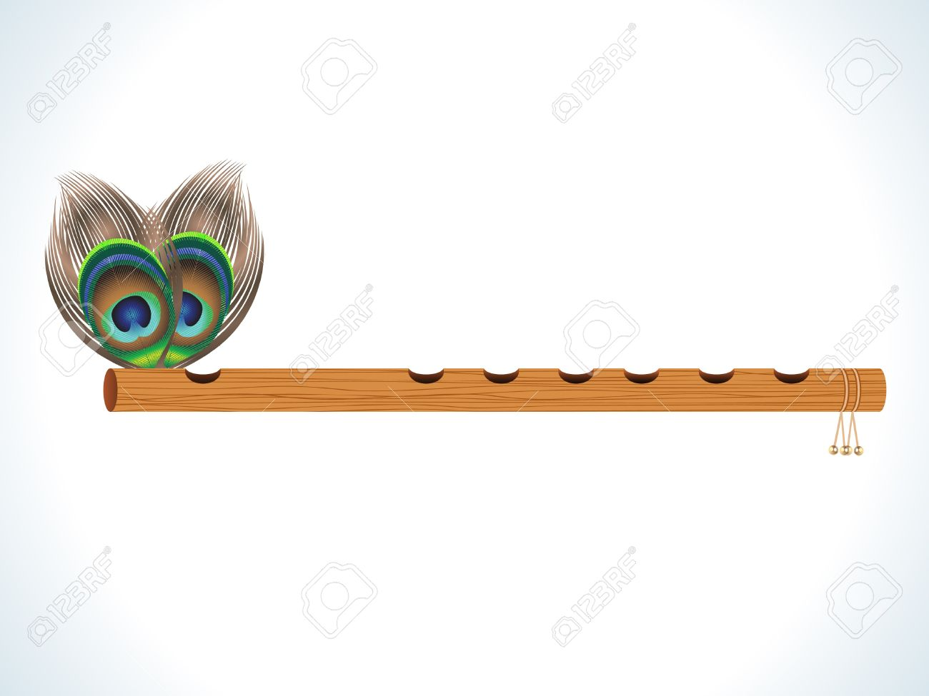 abstract wood flute with feather vector illustration Stock Vector - 10037158