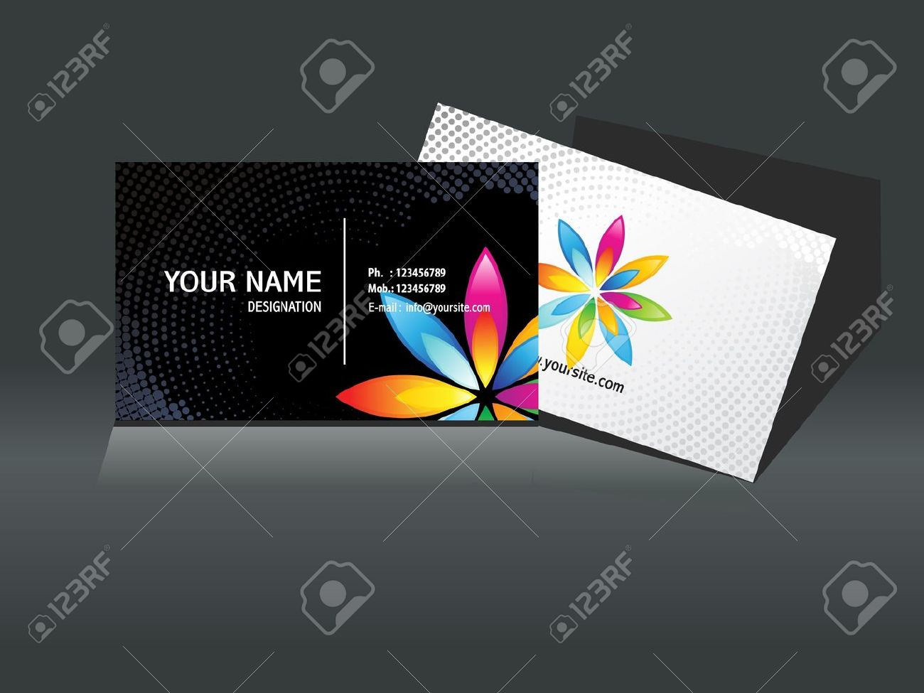 abstract black business card template vector illustration Stock Vector - 10378338